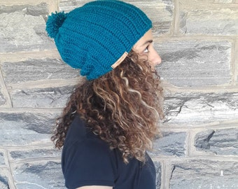 TEAL CROCHET HAT/Chunky slouchy beanie/holiday gift/gift for her/women hat/pompom beanie/Women's beanie/ slouchy hat/crochet winter hat