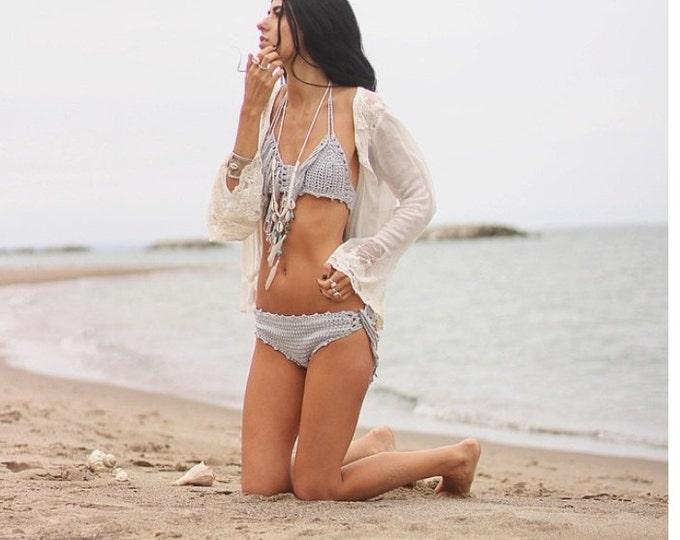 Crochet Fringe bikini set, SILVER, fringe bikini, crochet swimwear, crochet bikinis, swimwear,  swimsuits, bathing suits, crochet swimsuits