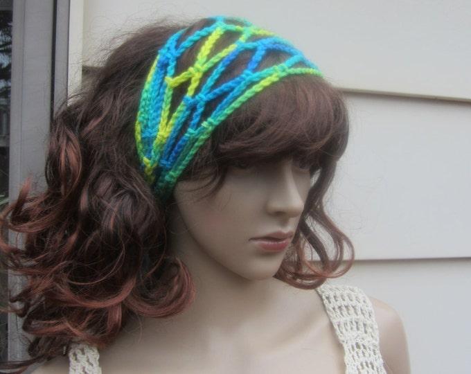 CROCHET BOHO HEADBAND, gypsy headband, festival headband, Loc headband, mesh hairband, Crochet hairband, headband, fishnet, hippie headband