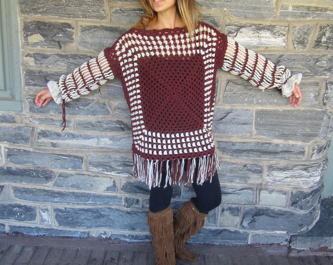 BOHO CROCHET SWEATER/Afghan sweater/oversize sweater/women's sweater/Gift for her/Christmas gift/birthday gift/Hippie boho crochet sweater/