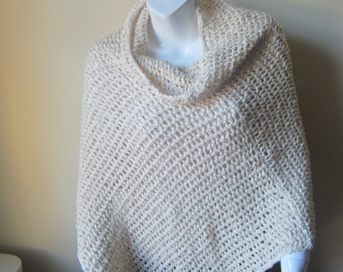 PONCHO, CROCHET PONCHO, womens poncho,  off white, cotton, cowl neck