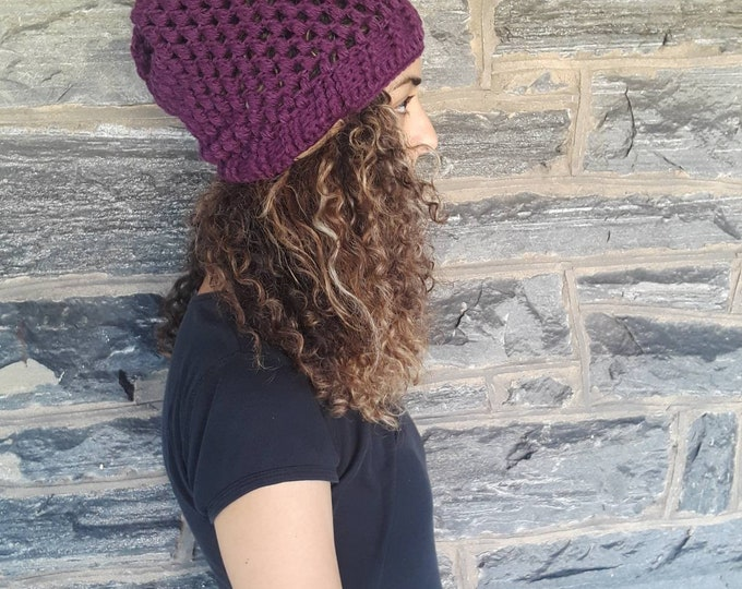 WOMENS HAT/crochet BEANIE/  Eggplant Hat/gift for her/Fall/winter fashion/slouchy beanie/ Chunky bubble beanie/wool blend/holiday gift/