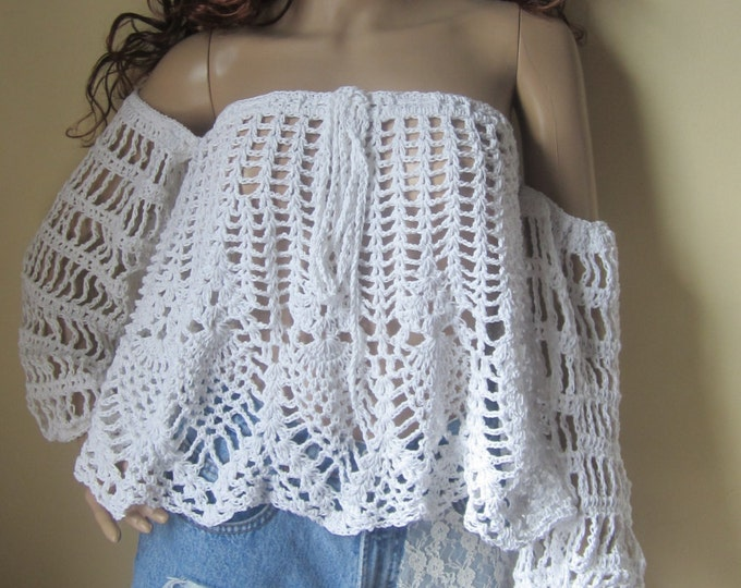 OFF SHOULDER TOP, crochet off shoulder top, boho offshoulder top, festival clothing, beachcover up, off shoulder top, gypsy offshoulder top