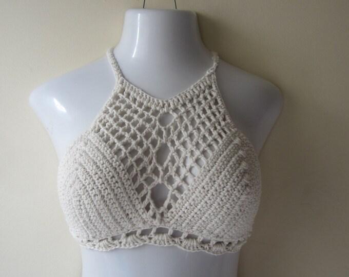 BRALET TOP, Crochet halter top, Halter top, festival clothing, boho chic, beach cover up,  burning man, gypsy top, cotton
