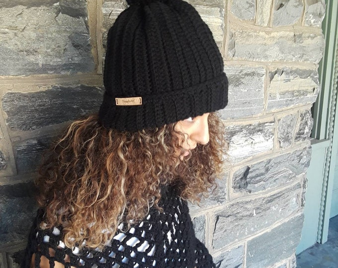 BLACK CROCHET HAT/Chunky slouchy beanie/holiday gift/gift for her/women hat/pompom beanie/cr Women's beanie/ slouchy hat/crochet winter hat