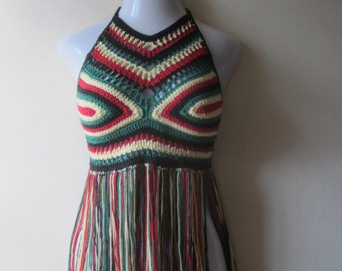 RASTA CROCHET TOP, festival clothing, crochet halter top,  caribbean, rasta,  afrocentric, carnivals,crochet bikini,halter top,  gypsy, boho