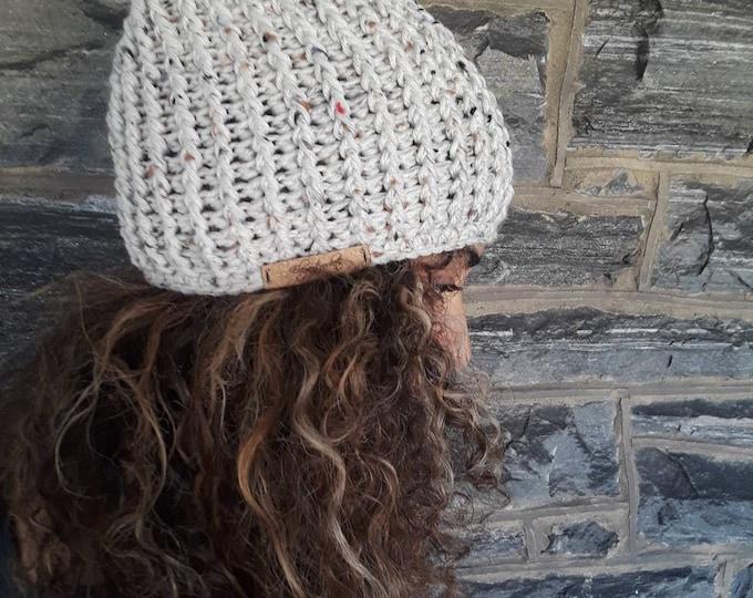 CROCHET skull cap beanie/holiday gift/gift for her/unisex beanie/ crochet hat/gift for him/tweed offwhite beanie/women's crochet winter hat