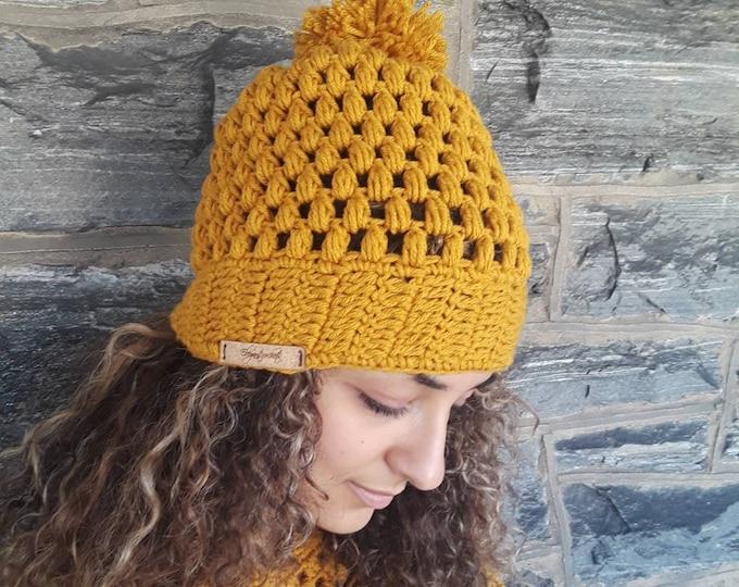 CROCHET POMPOM BEANIE/Mustard beanie /holiday gift/gift for her/women hat/ crochet women hat/mustard crochet slouchy hat/crochet winter hat