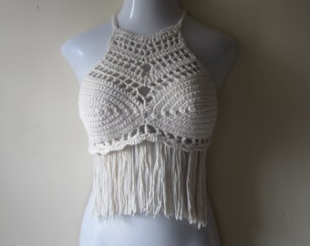 BOHO FRINGE TOP, crochet fringe top, festival top, festival clothing, racer back, belly dancing, 70s fashion, sexy bikini cover, yoga top