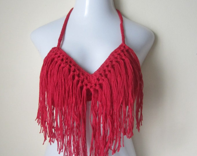 Fringe top, Gypsy top, halter top, crochet fringe bikini top, RED  gypsy clothing, festival top, Bohemian top