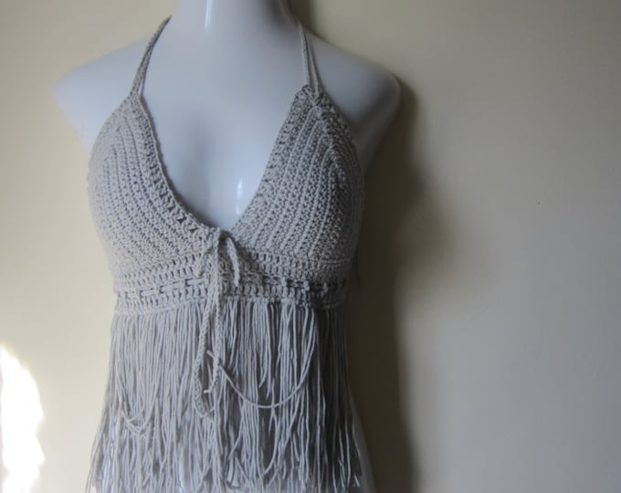 halter top with fringes, crochet top, bikini top, 70's top, gypsy, boho chic, Hippie, festival clothing, bustier