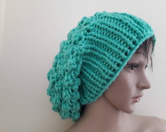 MINT SLOUCHY BEANIE/ Knit slouchy beanie/dreadlock beanie/ womens hat/beaniefor dreadlocks/knit Slouchy Hat, Slouchy Beanie Hat/gift for her