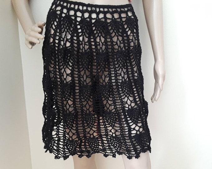 Crochet mid skirt, crochet skirt crochet beach skirt,  crochet boho skirt, festival clothing,  crochet festival skirt, hippie crochet skirt