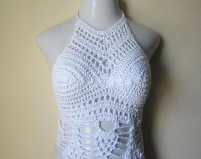 CROCHET HALTER TOP, cropped top  Crochet high neck halter top, festival top, beachcover boho chic, summer top, pineapple edges,White  cotton