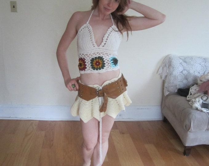Crochet mini skirt, rave wear, rave outfit, festival skirt, festival clothing, summer skirt, sexy crochet skirt, boho skirt, gift for her