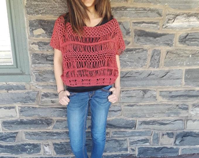 Oversize crochet sweater, offshoulder sweater, crochet crop sweater, crochet crop top, Crochet summer sweater,loose sweater, slouchy sweater