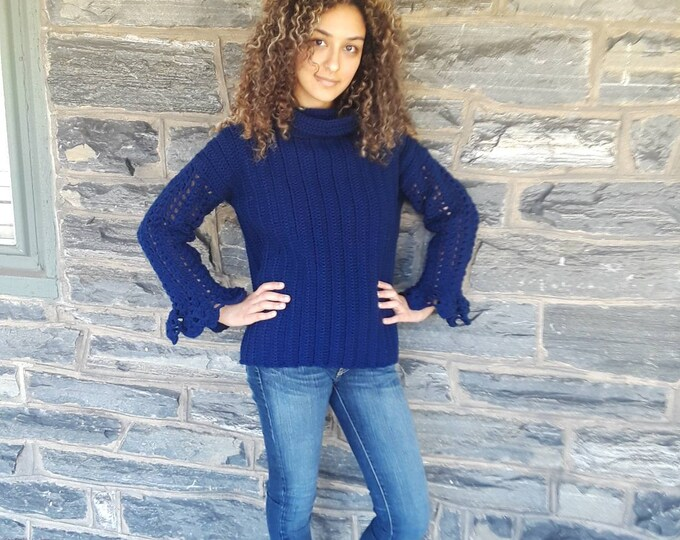 SWEATER/ Jumper/ crochet navy blue sweater/Fall/winter fashion/Autumn sweater/ crochet top/gift for her/ womens sweater/ knitwear/holidays