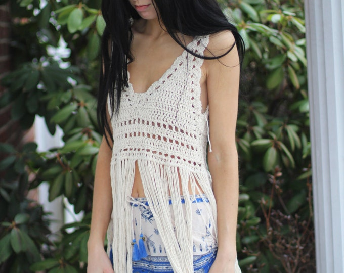 Festival Fringe top, Off white  festival fringe top, crochet halter top, festival top, festival clothing, Boho chic top, gypsy, hippie,
