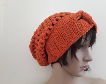 Crochet slouchy beanie/handmade beanie/chunky crochet beanie/womens beanie/hat for women/crochet hat for women/burnt orange crochet beanie