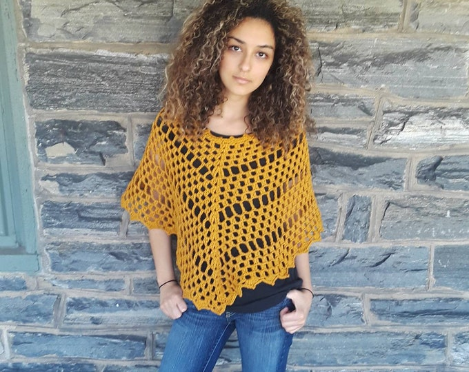 MUSTARD PONCHO/ crochet womens poncho/ Boho poncho/crochet poncho/poncho/gift for her/Birthday gift/ Christmas gift/ Fall fashion