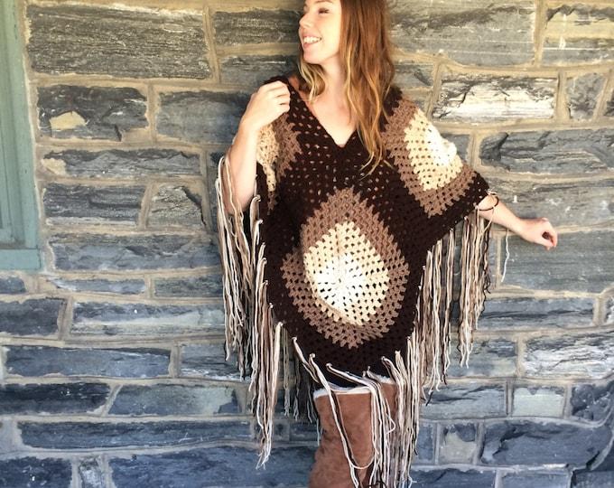 PONCHO CROCHET, poncho women, Boho poncho, hippie poncho, festival clothing, bohemian hippie gypsy clothing, afghan ombre poncho, FALL