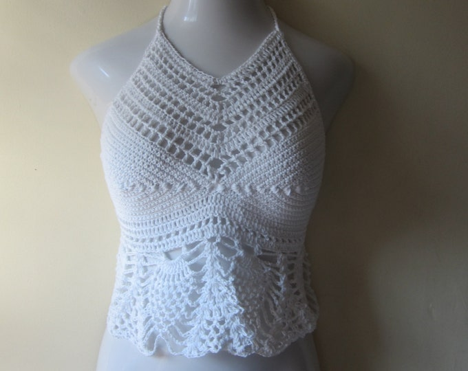 Crochet halter top, Halter top, festival clothing, boho chic, beach cover up, burning man, gypsy top, cotton
