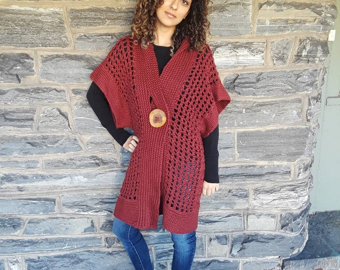 Crochet sweater vest/crochet sweater/crochet vest/bohemian style clothing/burgundy crochet sweater/women's cardigan/handmade sweater/cardi
