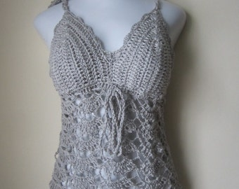 Crochet halter top, camisole, crochet tunic, halter tunic,  halter top, lace halter top, festival clothing, boho top, long halter top, gypsy