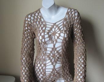 Crochet dress, Overlay, high low ruffled edges, Bohemian, festival clothing, summer dress, beach cover up,