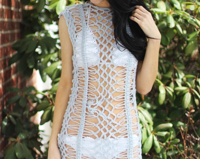 Silver crochet dress, crochet dress, beach cover, festival clothing, summer dress, bikini cover, cover uo, boho dress, gypsy dress, Hippie