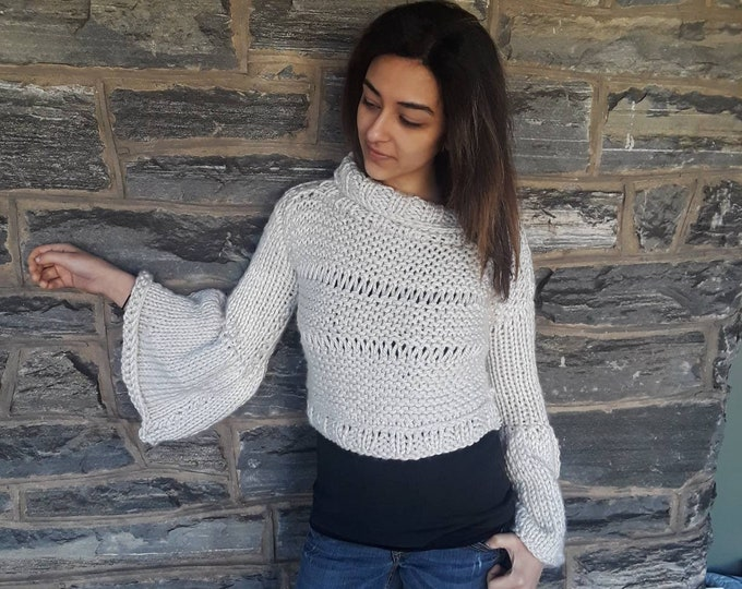 Crop knit sweater, bell sleeve sweater, 80s style crop sweater, hand knit sweater, cropped sweater for women,  offwhite sweater, gypsy style