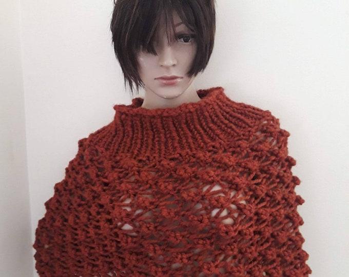 KNIT PONCHO/Poncho/loose knit poncho/Cowl neck poncho/womens poncho/ poncho femme/hand knitted poncho/poncho sweater/poncho for ladies/gift