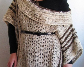 OVERSIZE PONCHO/ cowl neck poncho/ plus size sweater/ plus size poncho/ crochet poncho/ crochet sweater/ boho poncho/ womens sweater