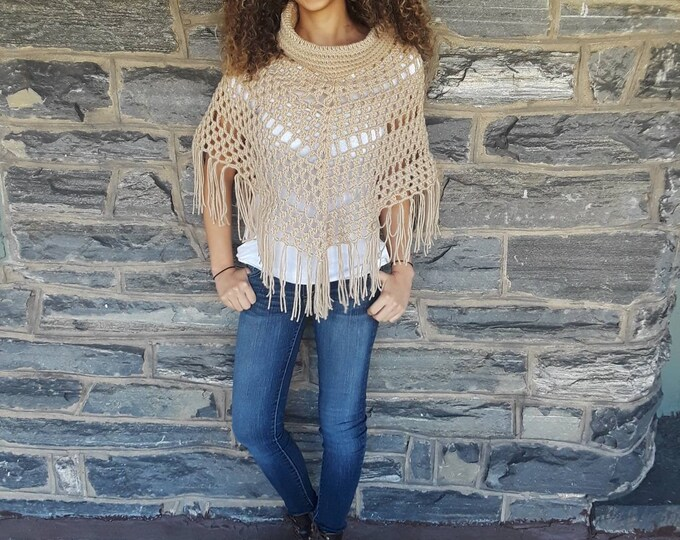 BEIGE CROCHET PONCHO/ crochet poncho/cowlneck Poncho/ Boho poncho/Fringe poncho,/gift for her/Birthday gift/ Christmas gift/ Fall fashion