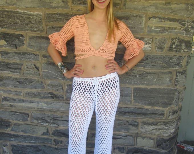 Bohemian Wrap top, crochet  crop wrap top, festival top, crochet, crisscross top, crisscross vest, gypsy vest, boho top, *ready to ship*