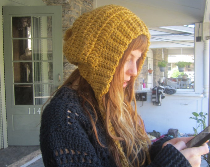 MUSTARD HOODED HAT, hood hat, Balaclava, Chunky pixie hood, hooded hat, womens hat, Crochet Hood, Hoodie hat, winter acc