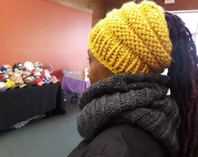 BEEHIVE MESSY BUN beanie, ponytail beanie, Beehive Beanie, womens hat, winter accessories,  chunky hat, winter beanie, bad hair day beanie
