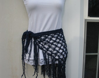 CROCHET SCARF,  beach cover up, gypsy, sarong, scarf, festival clothing, NAVY blue boho chic, hippie beach skirt