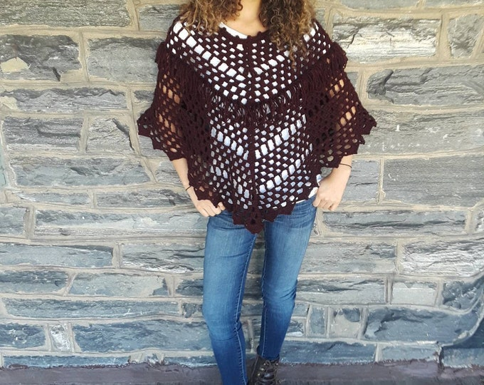 CROCHET BOHO PONCHO/ fringe poncho / womens poncho/poncho girl/gypsy poncho/gift for her/Burgundy/Birthday gift/Christmas gift/ Fall fashion