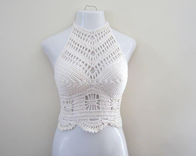 White crochet top, Crochet halter top, festival halter top, festival clothing, gypsy clothing  boho top,  beachwear, spider top ,gypsy top,