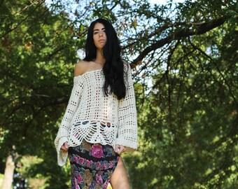 Crochet Sweater, OVersize sweater, plus size sweater, Festival clothing,  gypsy, boho sweater, Fall, autumn, winter fashion