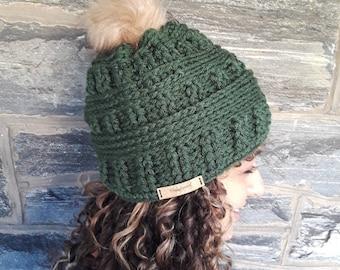 Hunter Green Crochet beanie/faux pompom beanie/crochet hat/women's hat/warm winter hat/skull cap beanie/gift for her/hand made beanie hat