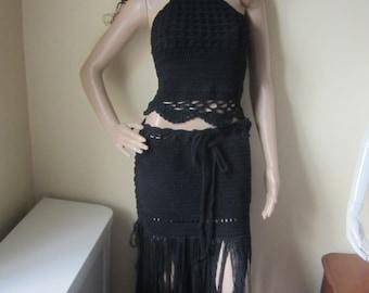 CROCHET MAXI fringe SKIRT, Boho skirt, beach skirt, fringe skirt, bohemian skirt, hippie skirt, festival clothing, gypsy clothing, rave wear