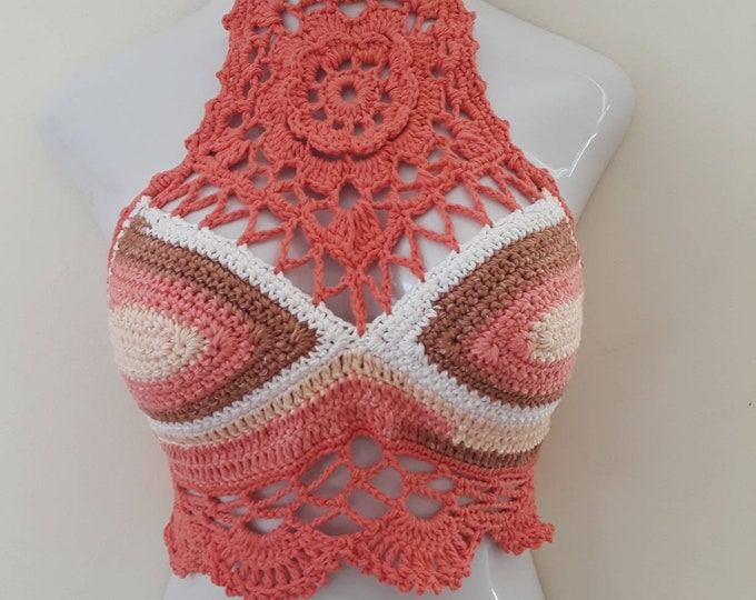 Lotus flower halter top, valentines day top, MANDALA TOP Festival clothing, living coral top, crochet top, bohemian clothing gypsy clothing