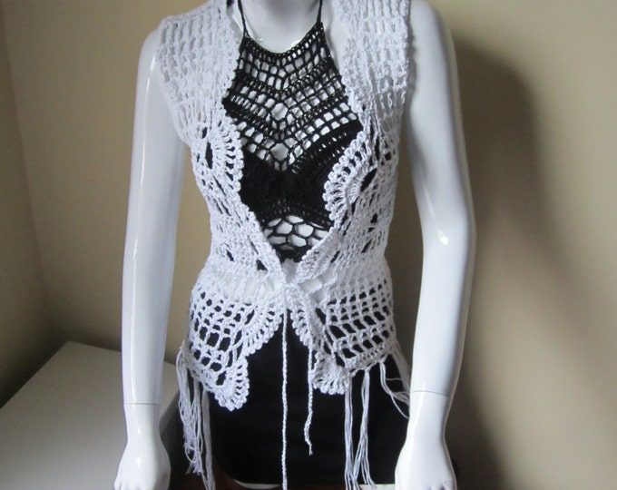 Crochet Fringe Vest, Festival vest,  gypsy, boho, Tassel vest,  WHITE,  Earthy, retro inspired vest made by elegantcrochets