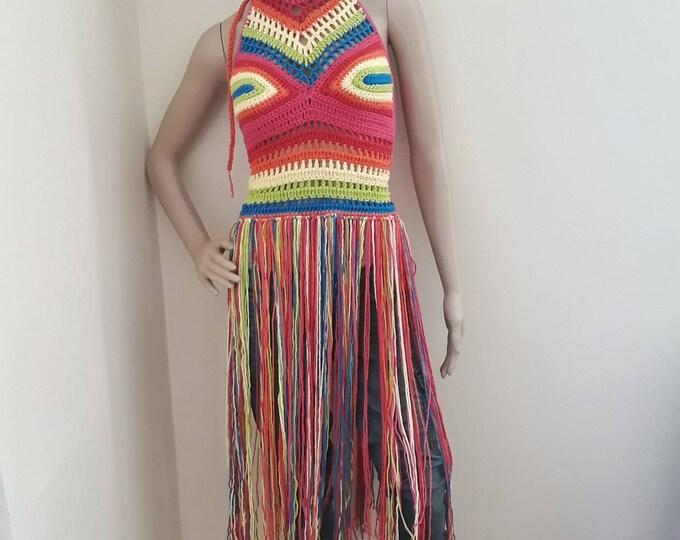 FESTIVAL FRINGE  CROCHET Top, festival clothing, crochet halter top, Edm ravewear, gypsy clothing, Hippie, bohemian, rainbow top