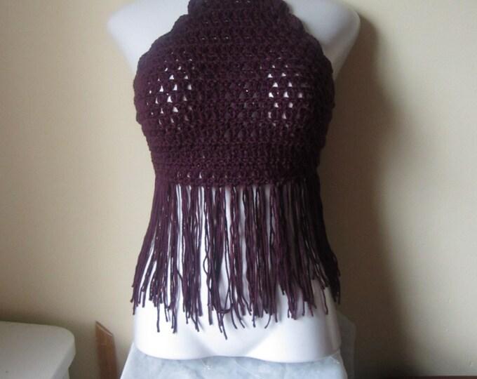 Purple crochet halter top, fringes, 70s fashion, retro inspired