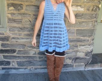 Crochet Dress, bohemian flowy tunic  corn flower Blue dress, beach cover up, festival clothing,  bohemian princess, gypsy dress, festivals