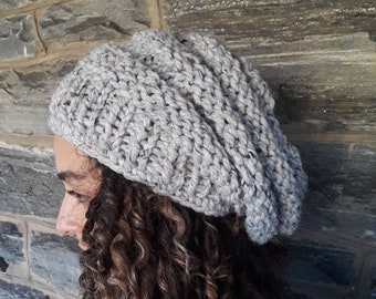 GRAY MARBLE BEEHIVE Beanie/chunky beanie/slouchy beanie/winter hat/dreadlock hat/bad hair day beanie/knit hat/knitted beanie/hand knit hat