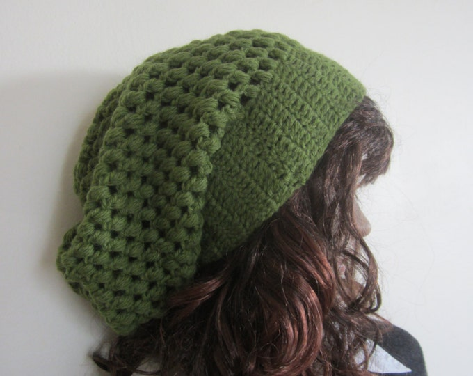 LEAF GREEN  BEANIE,  Crochet beanie, Fall Autumn winter fashion, slouchy beanie,  Chunky bubble slouchy beanie, wool blend